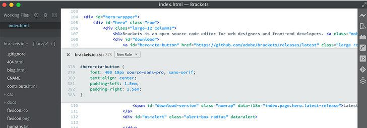 brackets HTML editor macos 10.15