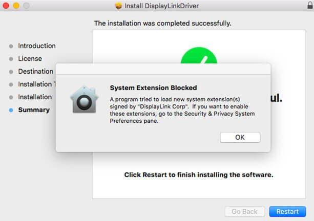 resolviendo el problema de mac os x 10.14 displaylink