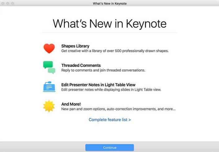keynote kann keine keyfiles auf macos 10.14 öffnen