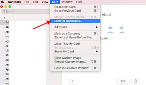 remove duplicate contacts on your mac for macos 10.14