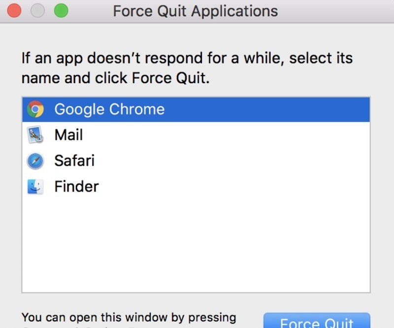 google chrome force quit on macos 10.15