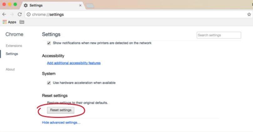 google chrome reset settings on macos 10.15
