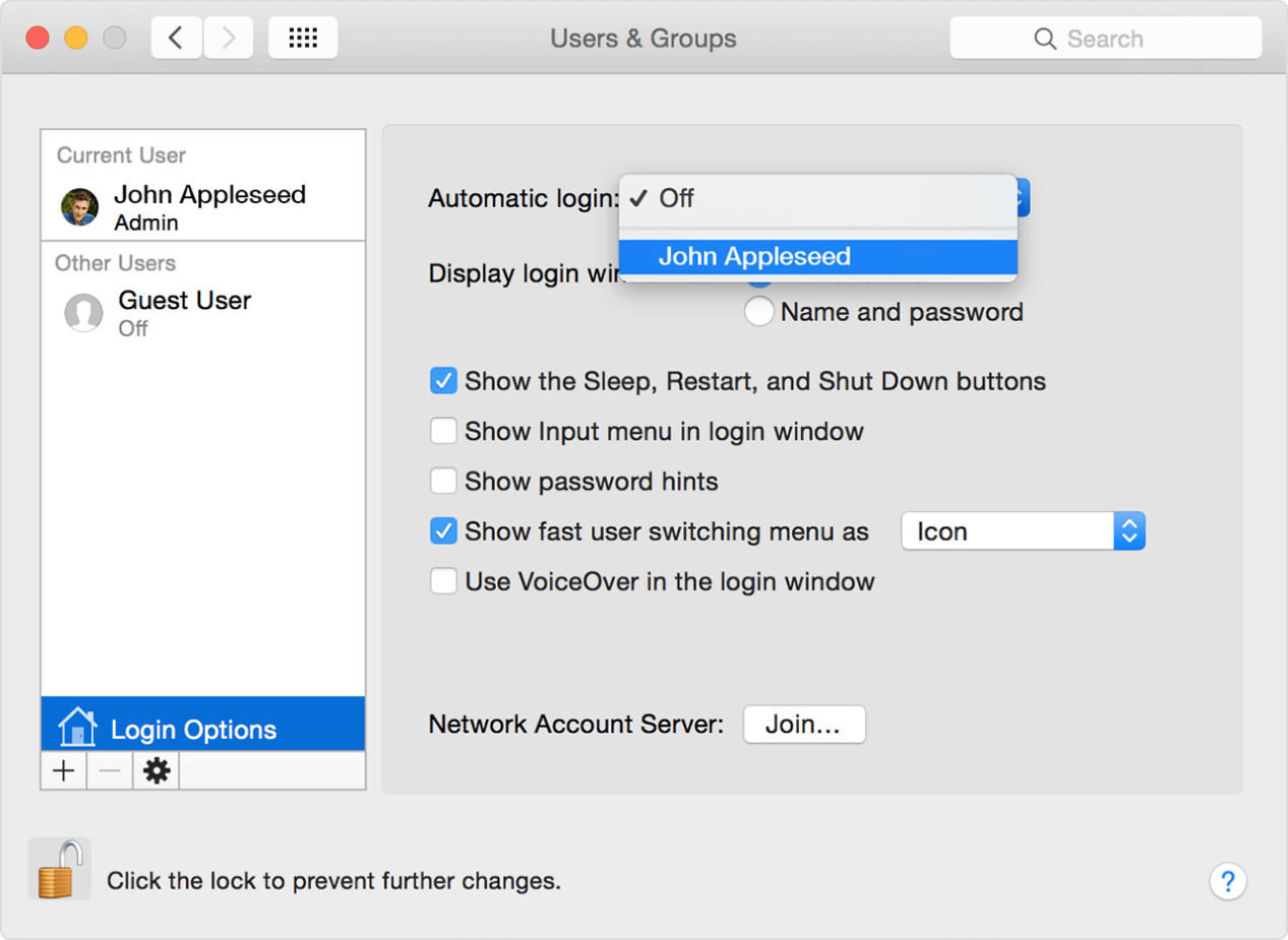 turn off password protection on macos 10.15