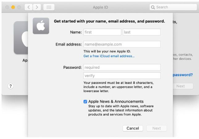 create a new apple id on macos 11