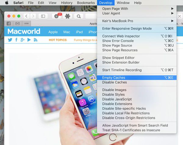 clear the cache, history, and cookies in safari on macos 11