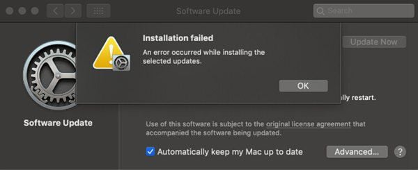 failure/stuck/installation error