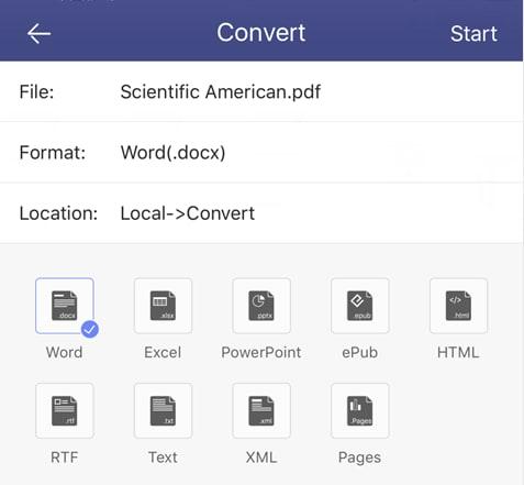 Convertire i PDF su iOS