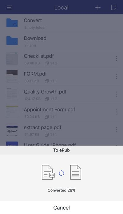 pdf to epub on iphone