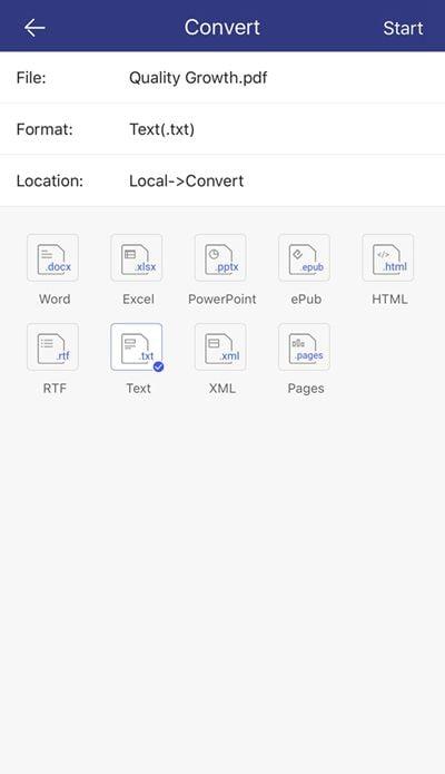 pdf in txt konvertieren auf iphone