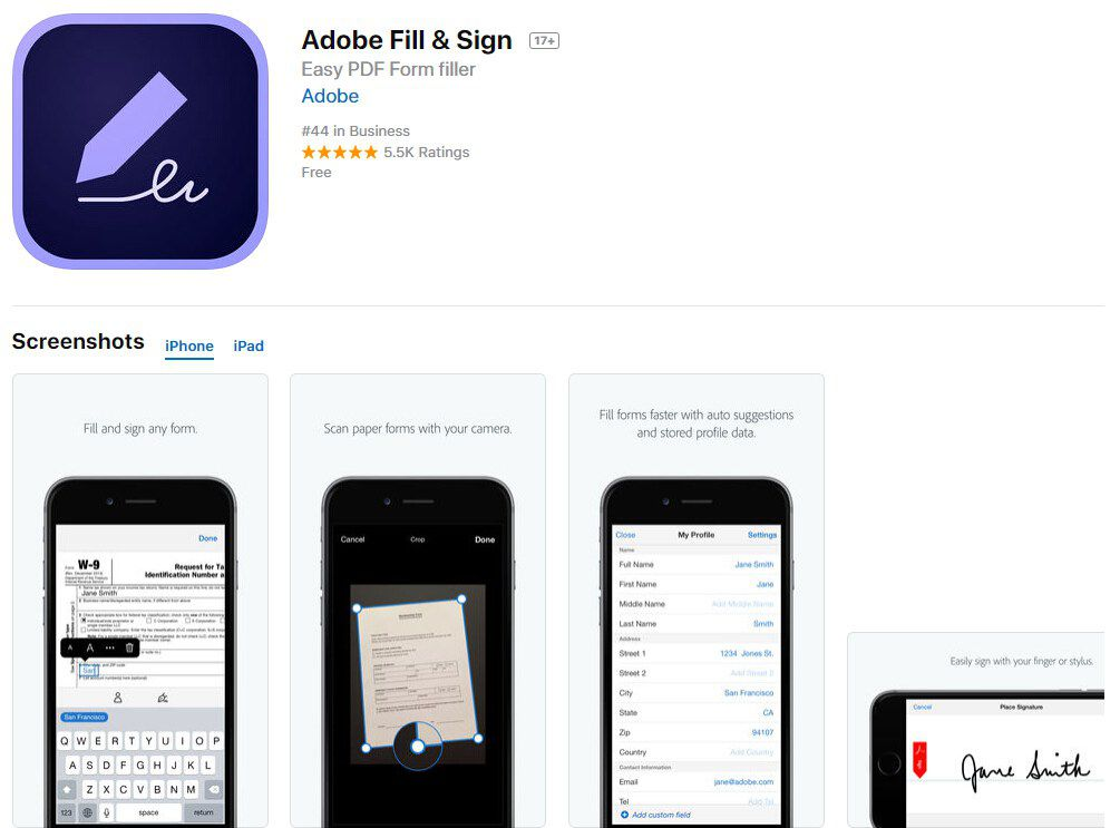adobe fill out pdf on iphone