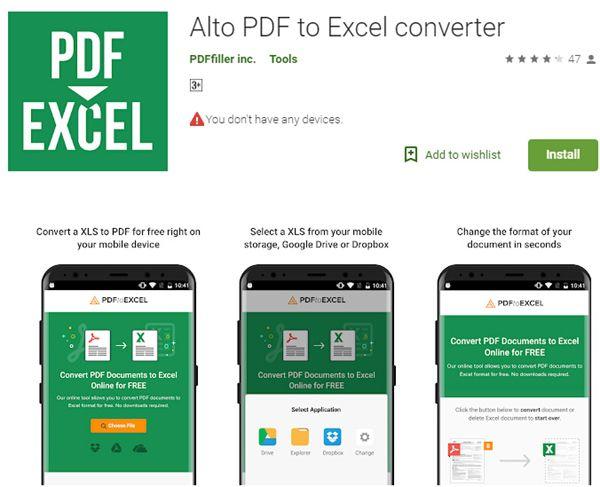 alto pdf to excel konverter