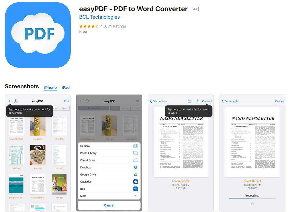 converter pdf em word app para ipad