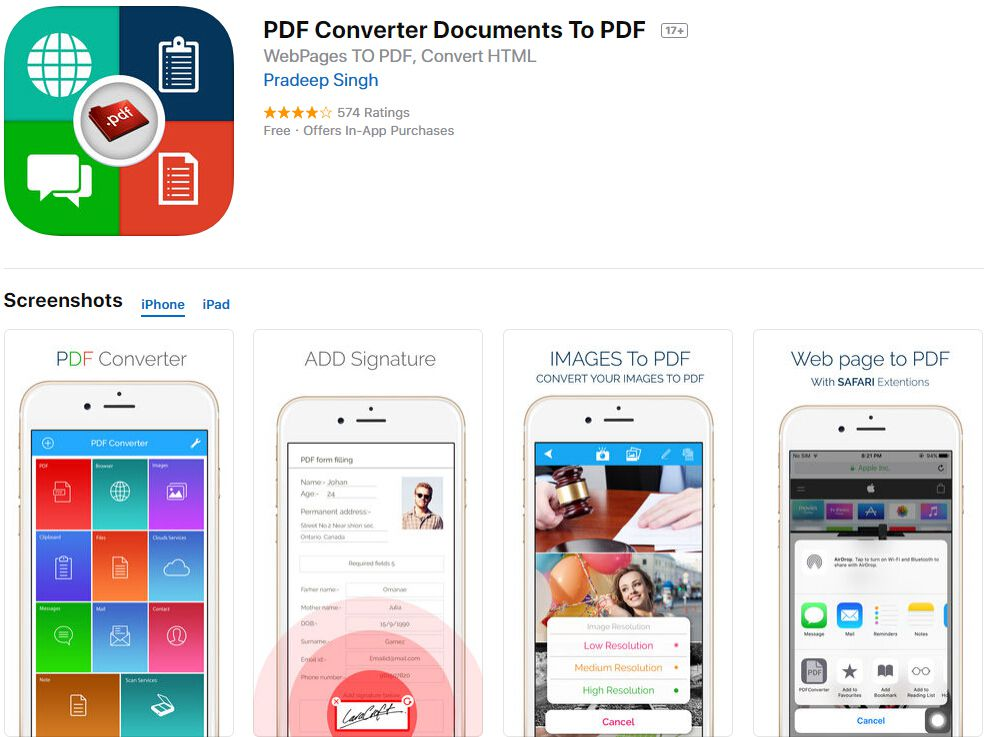 convertir word doc a pdf iphone