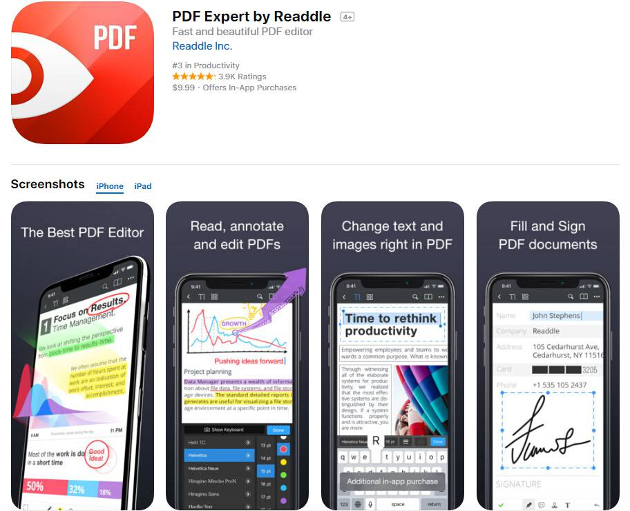 PDF Expert fill out pdf on iphone