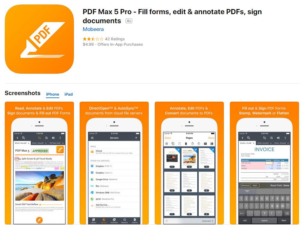 PDF Max Pro fill out pdf on iphone