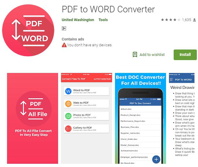 word in pdf konvertieren android