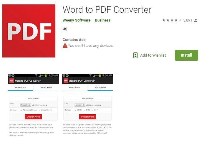 word to pdf converter app für android