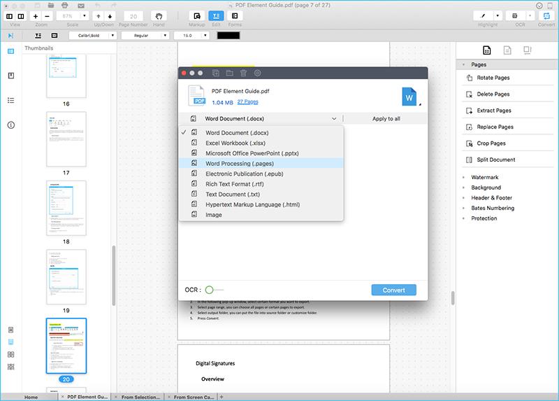 PDF zu Pages auf Mac konvertieren