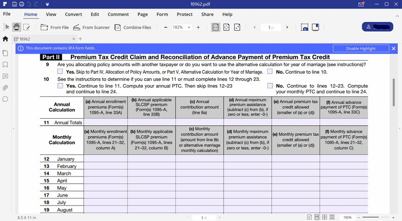 fill out irs form 8962