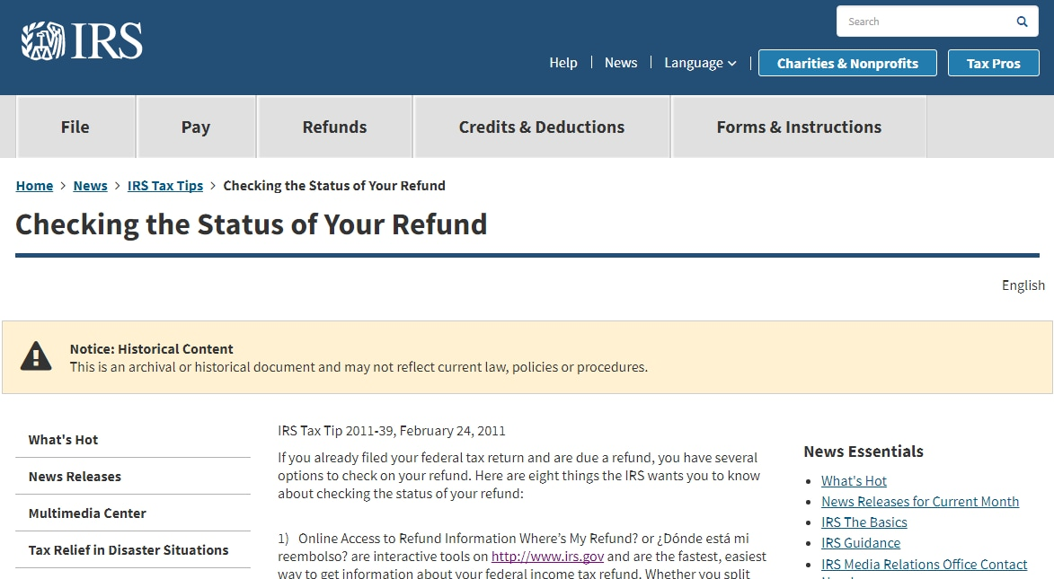Check Status of Your Federal and State Tax Refund
