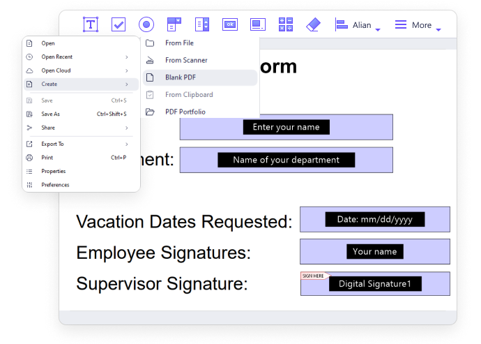 Créer un formulaire à partir d'un document existant
