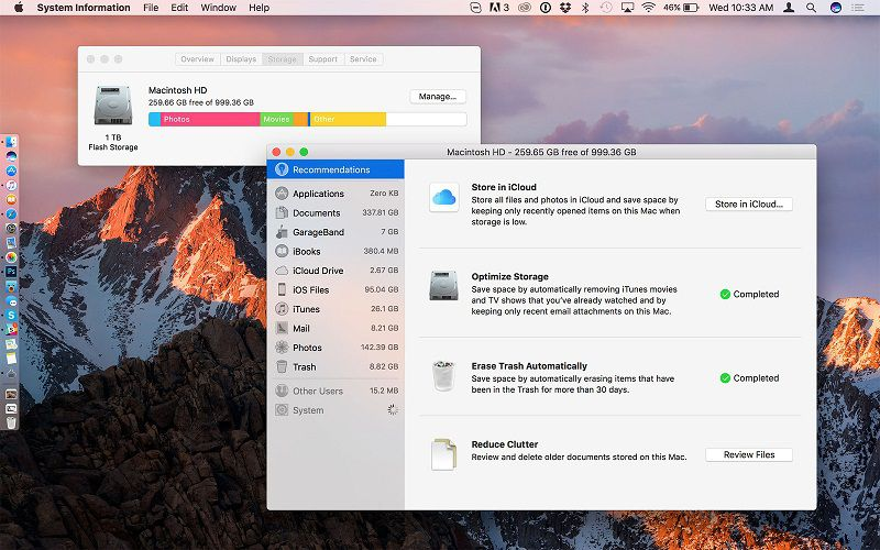 optimized storage su macos sierra