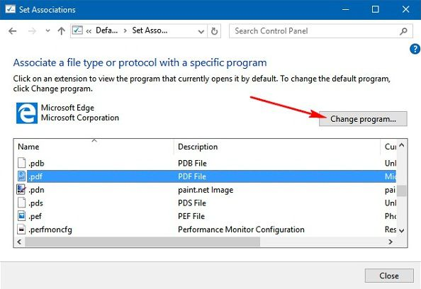cambia lettore pdf predefinito su windows 10