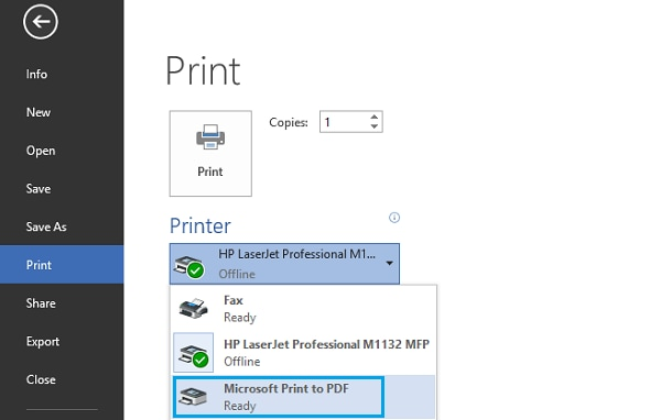 printing to pdf on windows 10