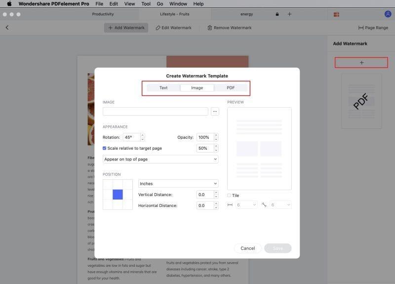 aggiungere filigrane ai pdf su mac