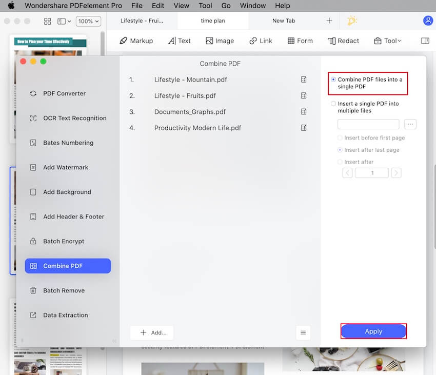 how to create one pdf from multiple pdfs mac