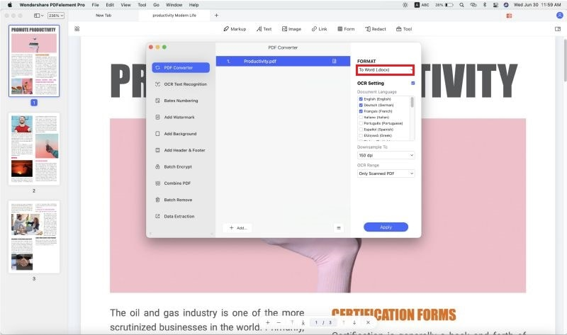 convertire file anteprima in word su mac
