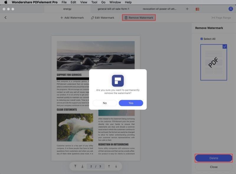 eliminar marca de agua de PDF en Mac