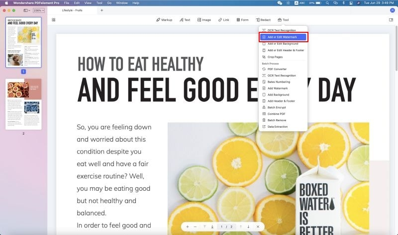 aggiunta di filigrana ai pdf su mac