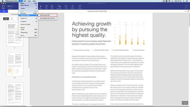 compactando pdf no preview