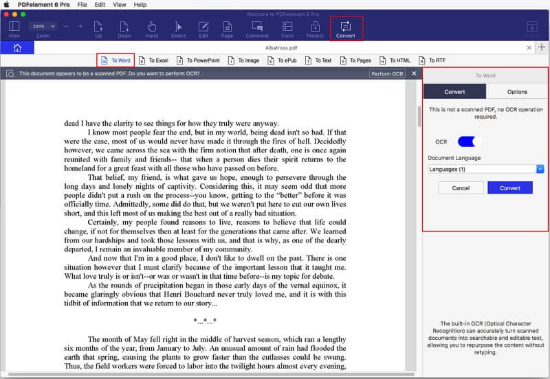 как преобразовать pdf в word на mac