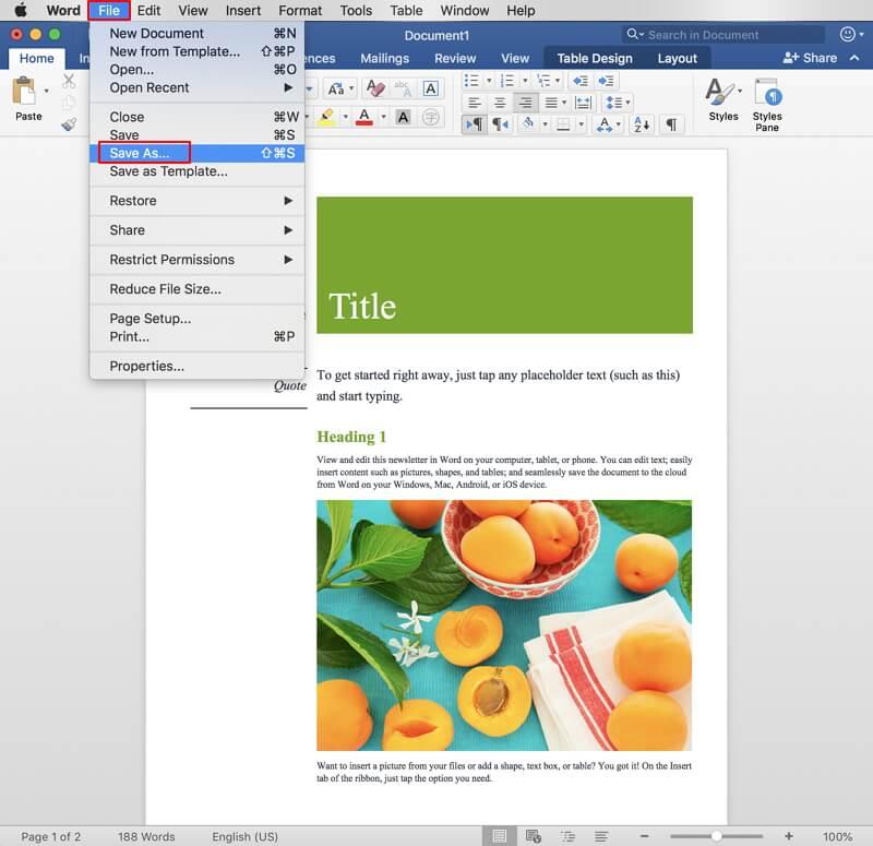 convertidor de word a PDF para Mac