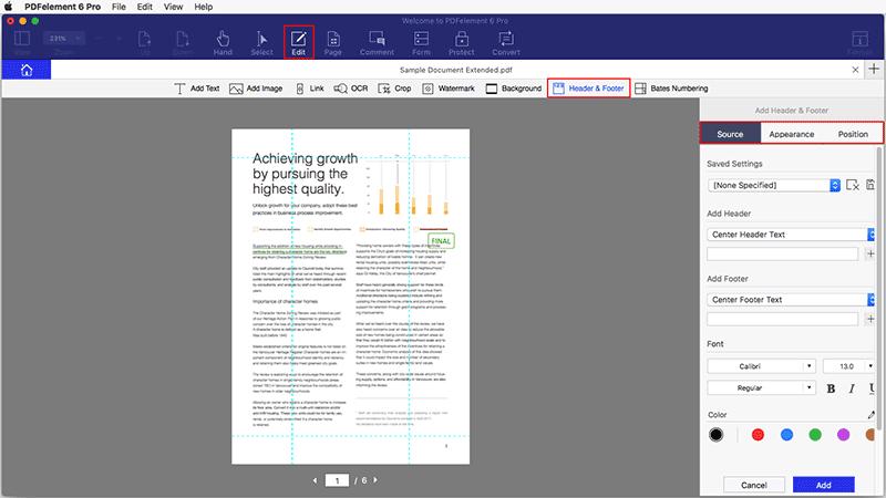 Page Numbers of PDF mac
