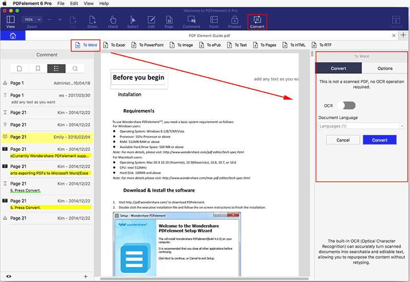 Convertir los documentos PDF a Word en Mac