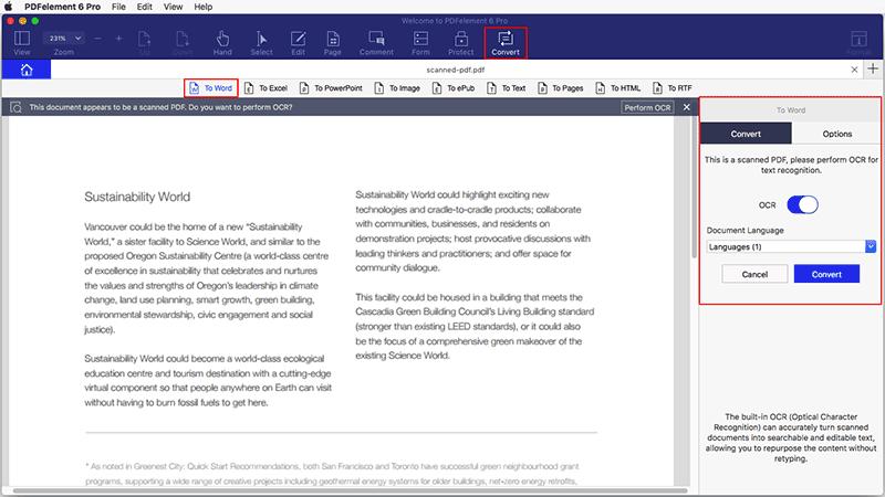 конвертировать отсканированный pdf