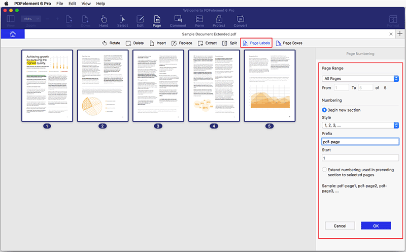 Añadir etiquetas de página a un PDF en Mac
