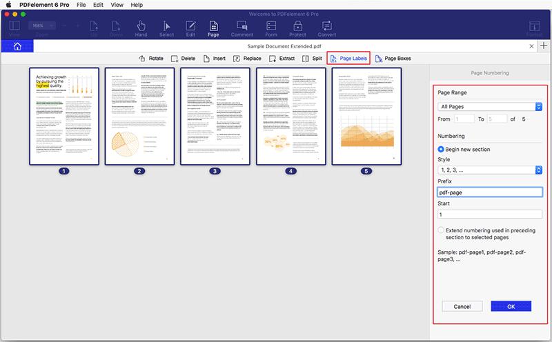 Add Page label to PDF Mac