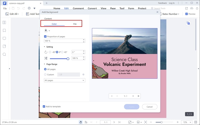 add background in pdf