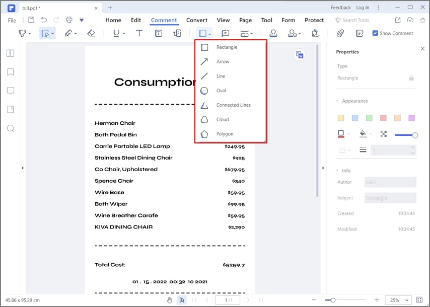 how to add shapes in pdf