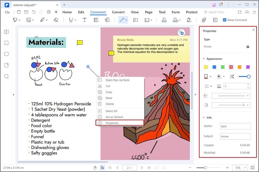 insert arrow in pdf