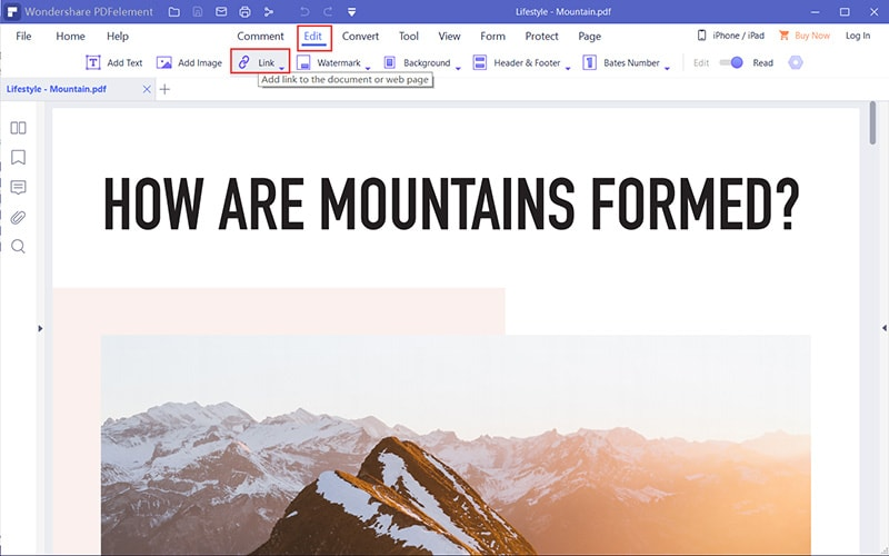 remove link from pdf