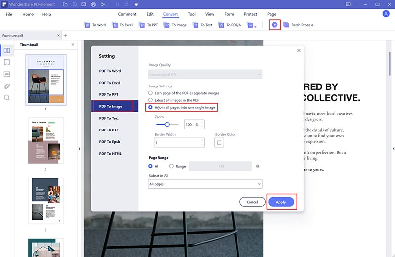 save all pdf pages as one image