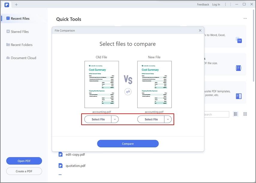 select files to compare pdf