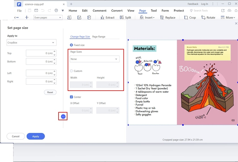 how to make pdf pages the same size