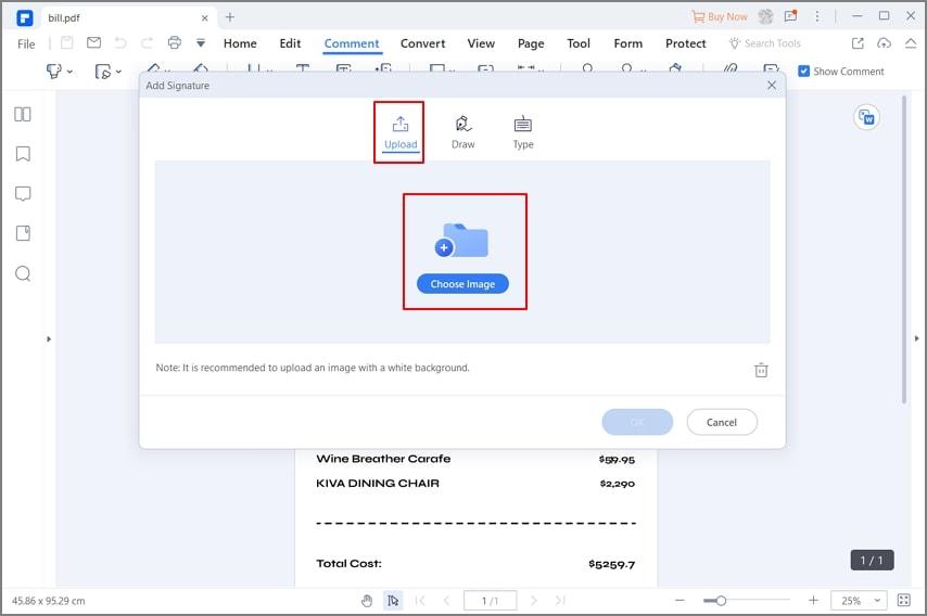 insert handwritten signature in pdf