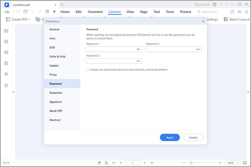 Verwenden Sie das voreingestellte Passwort, um das PDF zu öffnen